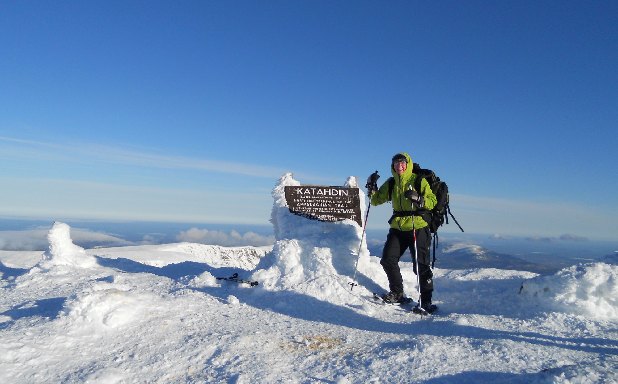 earth miracleAtop the summit of Katahdin, February 9 2012. [Photo by Jim Albert or Leo Bolduc.]