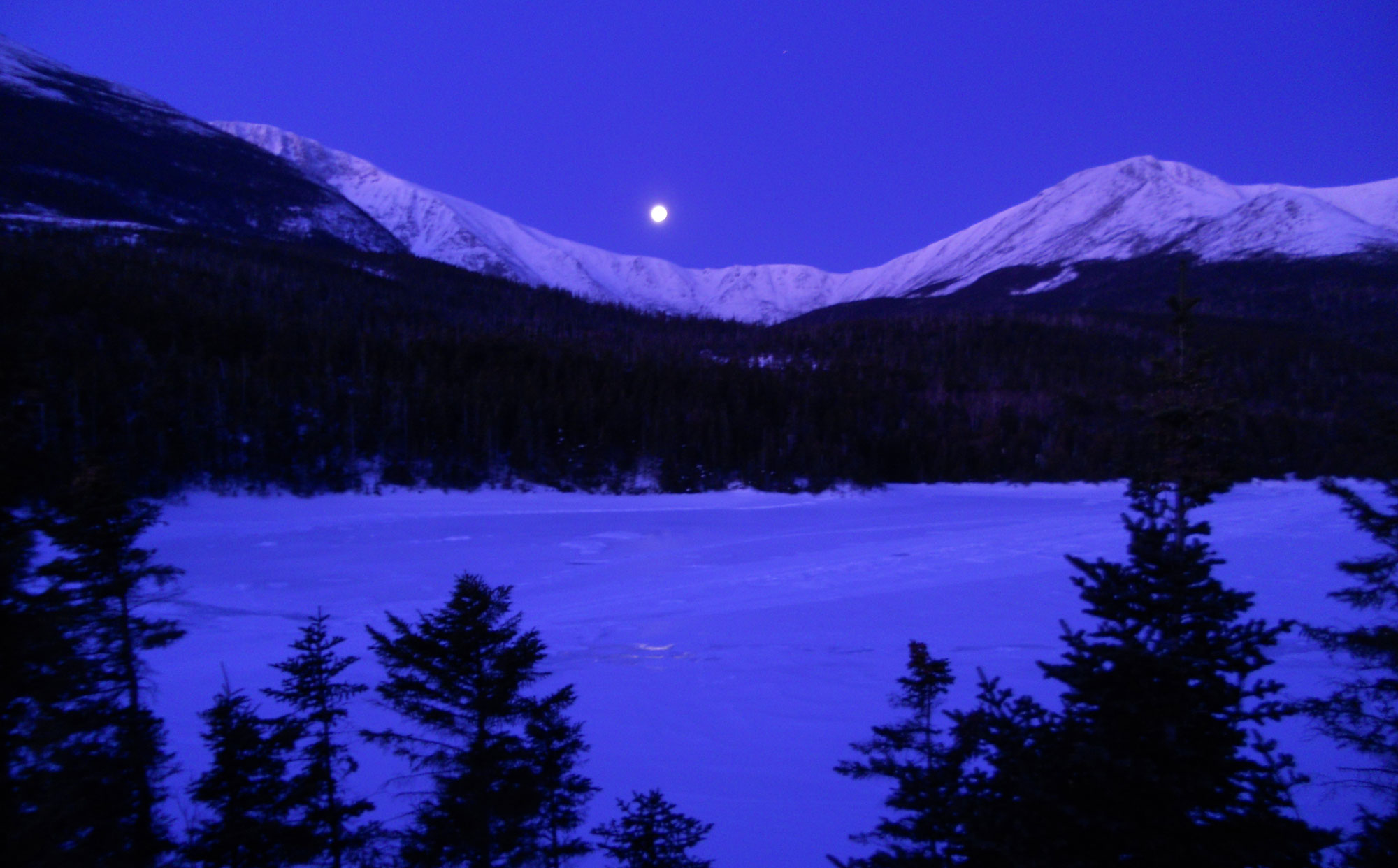 Moonset over the Saddle, Baxter State Park, February 10 2012, 6:19 AM. I had climbed to Katahdin's summit via the Saddle the day before.